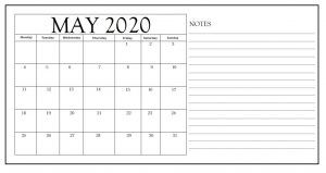 Print May 2020 Calendar With Notes