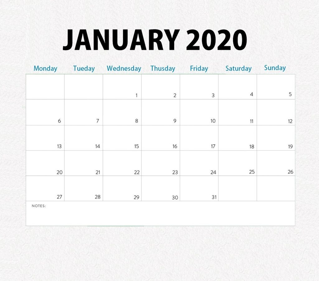Printable January 2020 Monthly Planner
