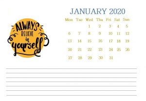 Printable January 2020 Quotes Calendar