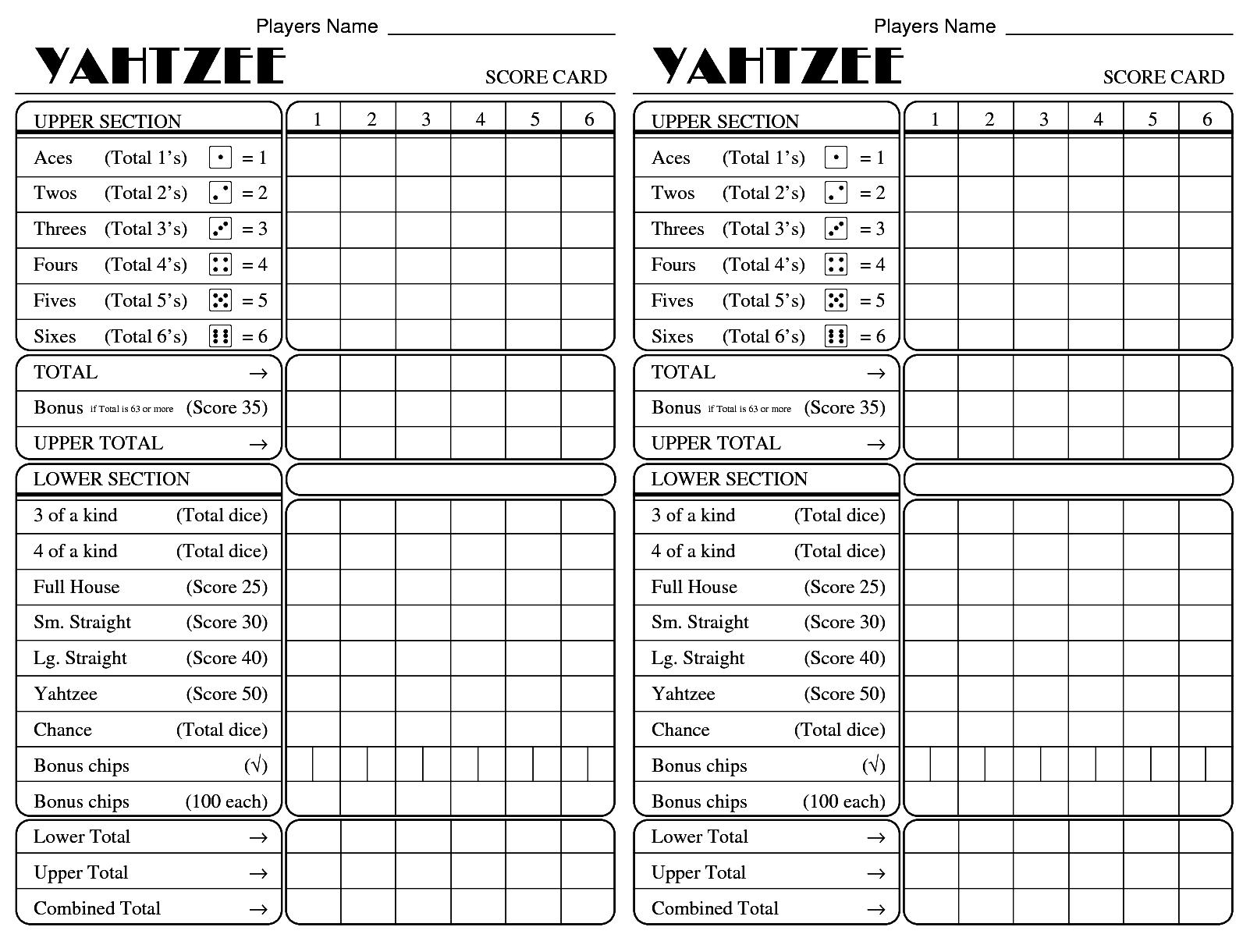Printable yahtzee score card