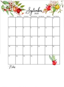 September 2020 Floral Calendar