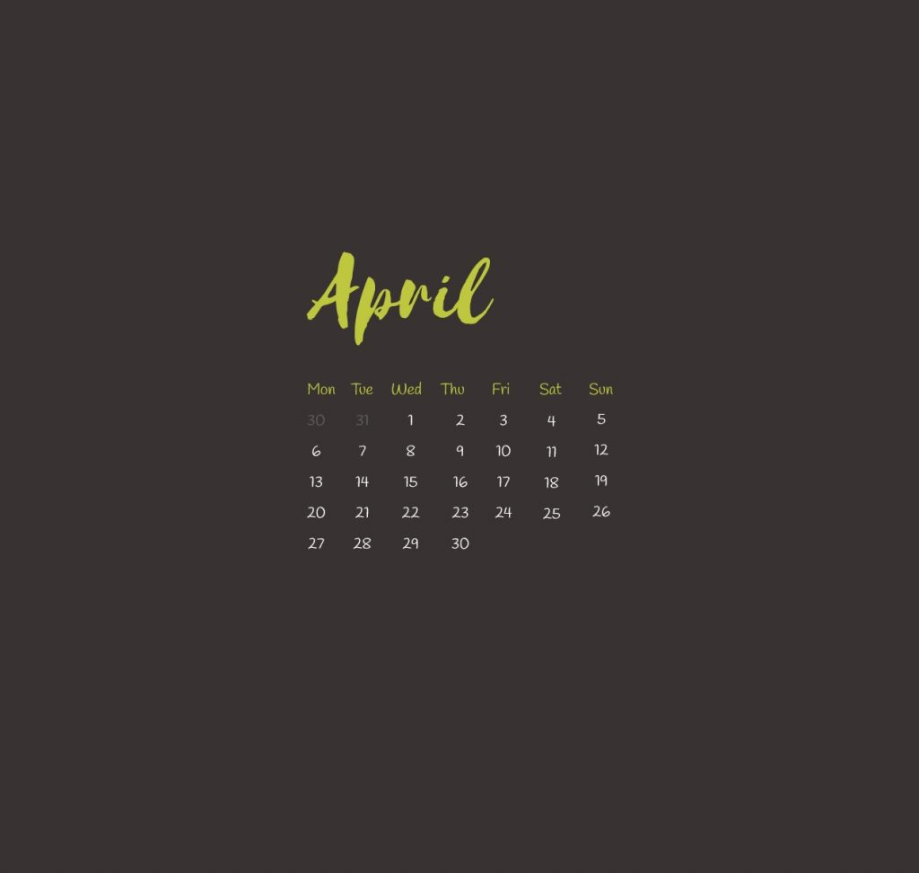 Simple April 2020 iPhone Wallpaper