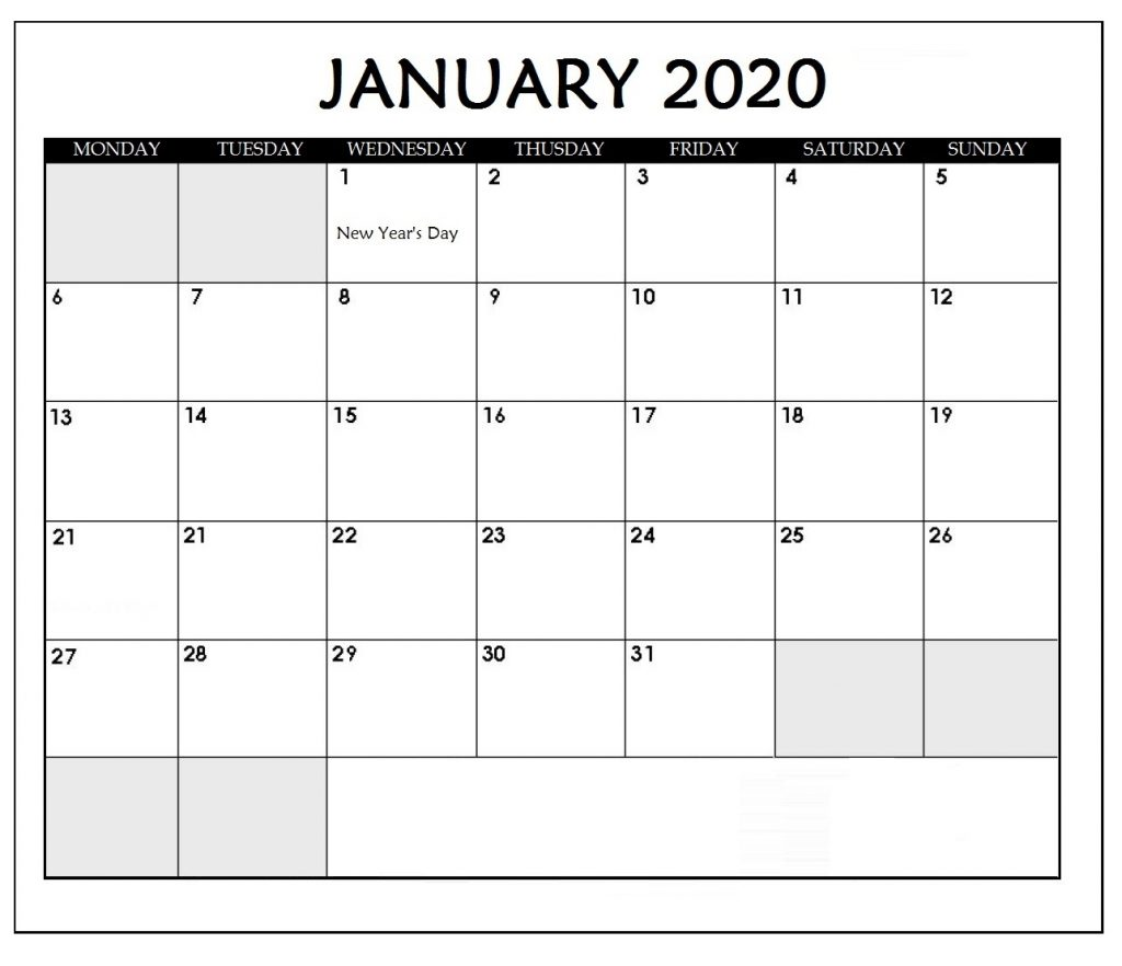 Simple January 2020 Blank Calendar