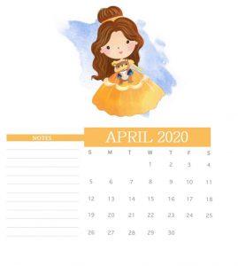 Watercolor April 2020 Cute Calendar