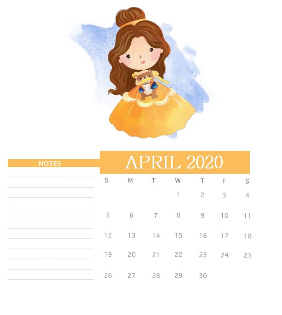 Watercolor April 2020 Cute Calendar