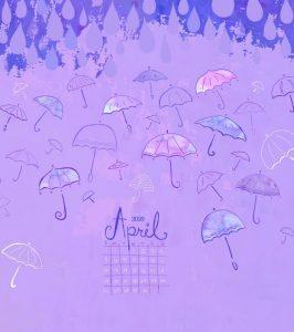 Watercolor April 2020 iPhone Wallpaper