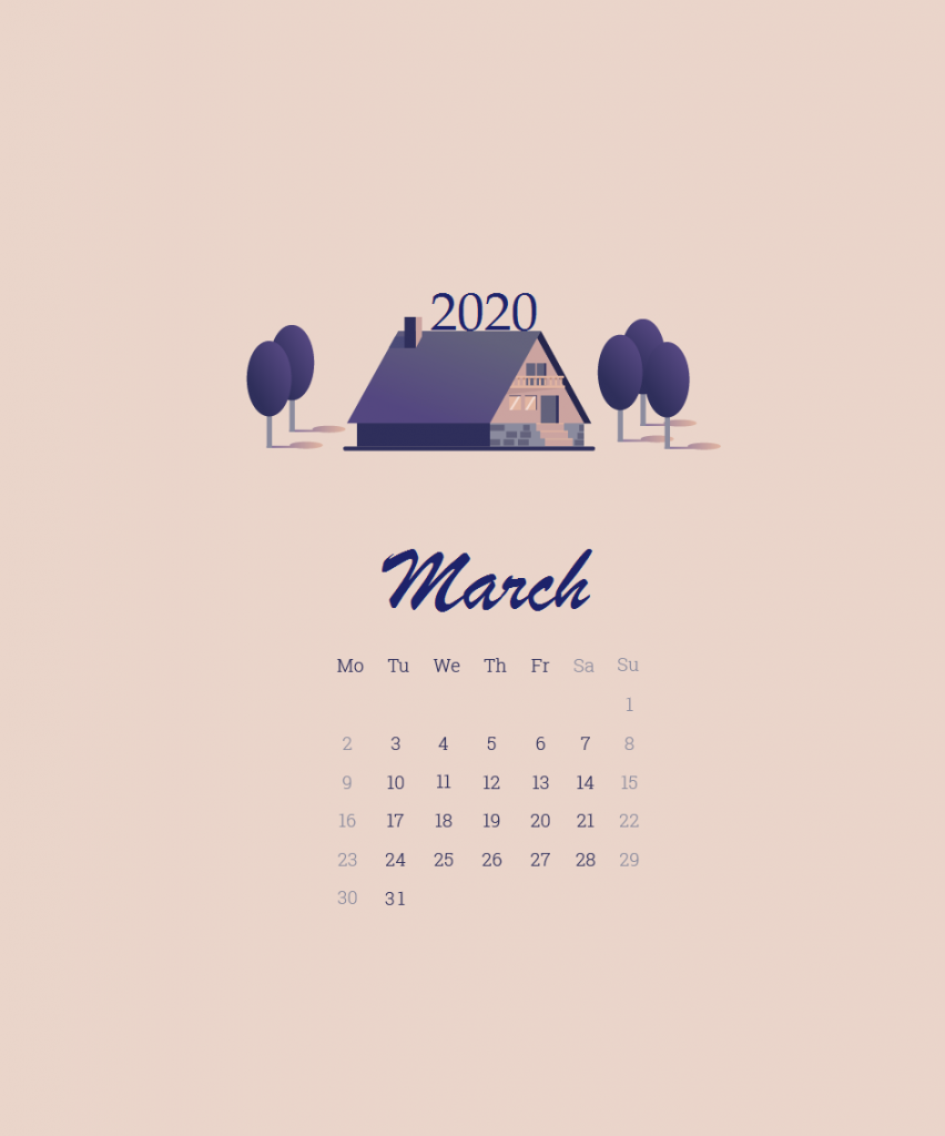 iPhone March 2020 Wallpaper Calendar
