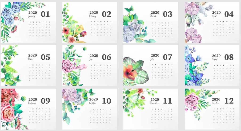 Beautiful 2020 Yearly Calendar