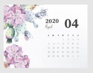Beautiful April 2020 Calendar