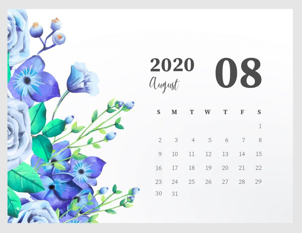 Beautiful August 2020 Calendar