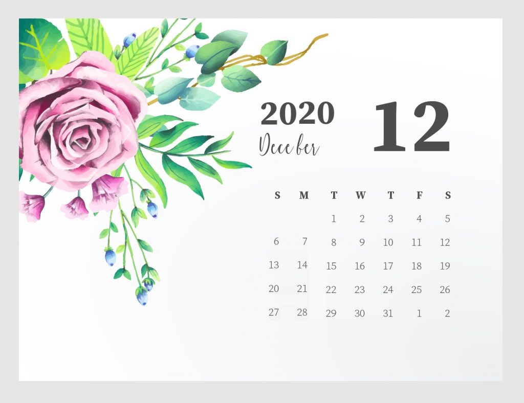 Beautiful December 2020 Calendar