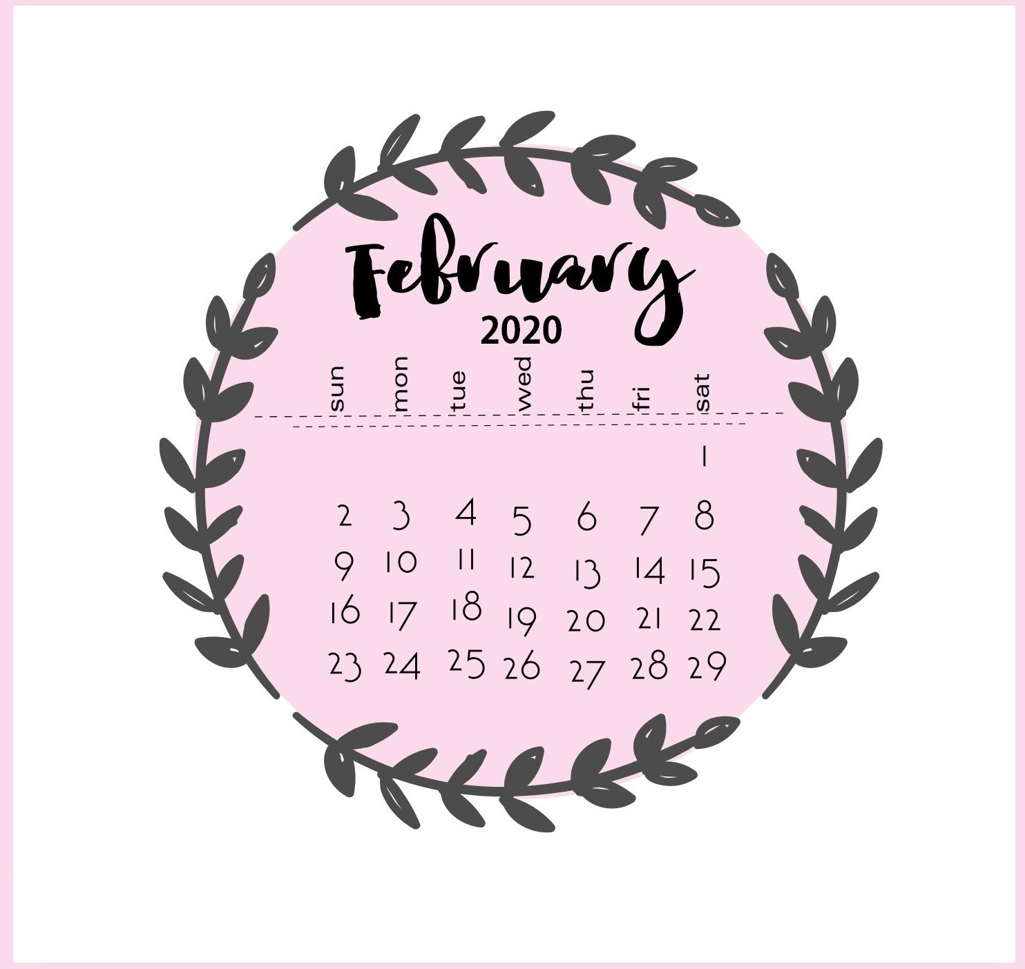Beautiful February 2020 Calendar