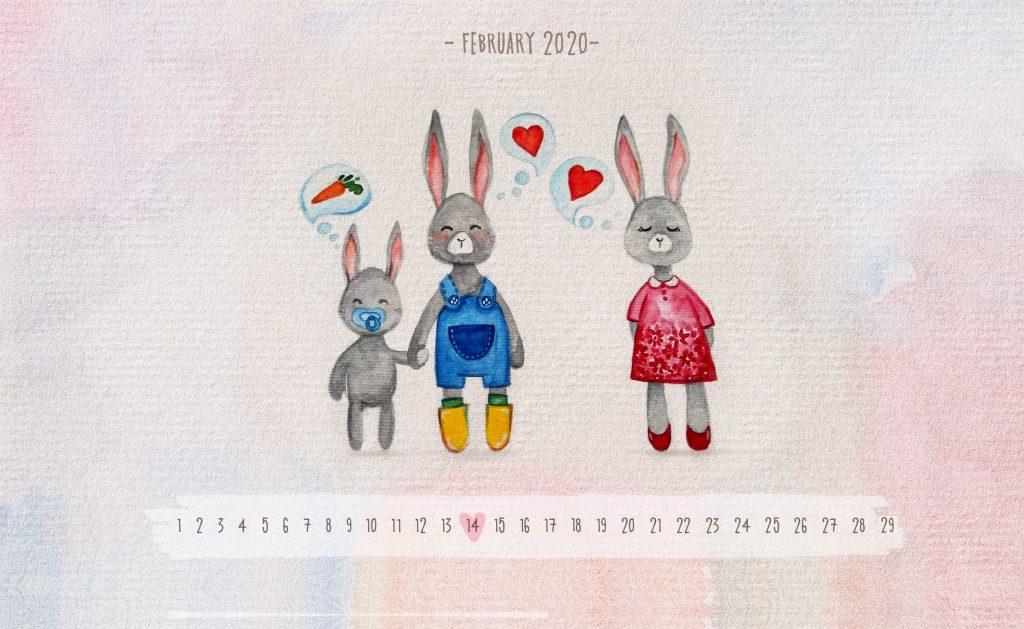Beautiful February 2020 Calendar Wallpaper