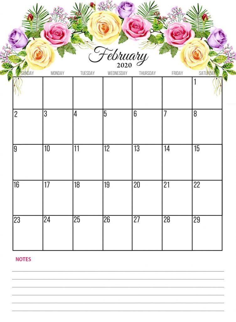 Beautiful February 2020 Floral Calendar