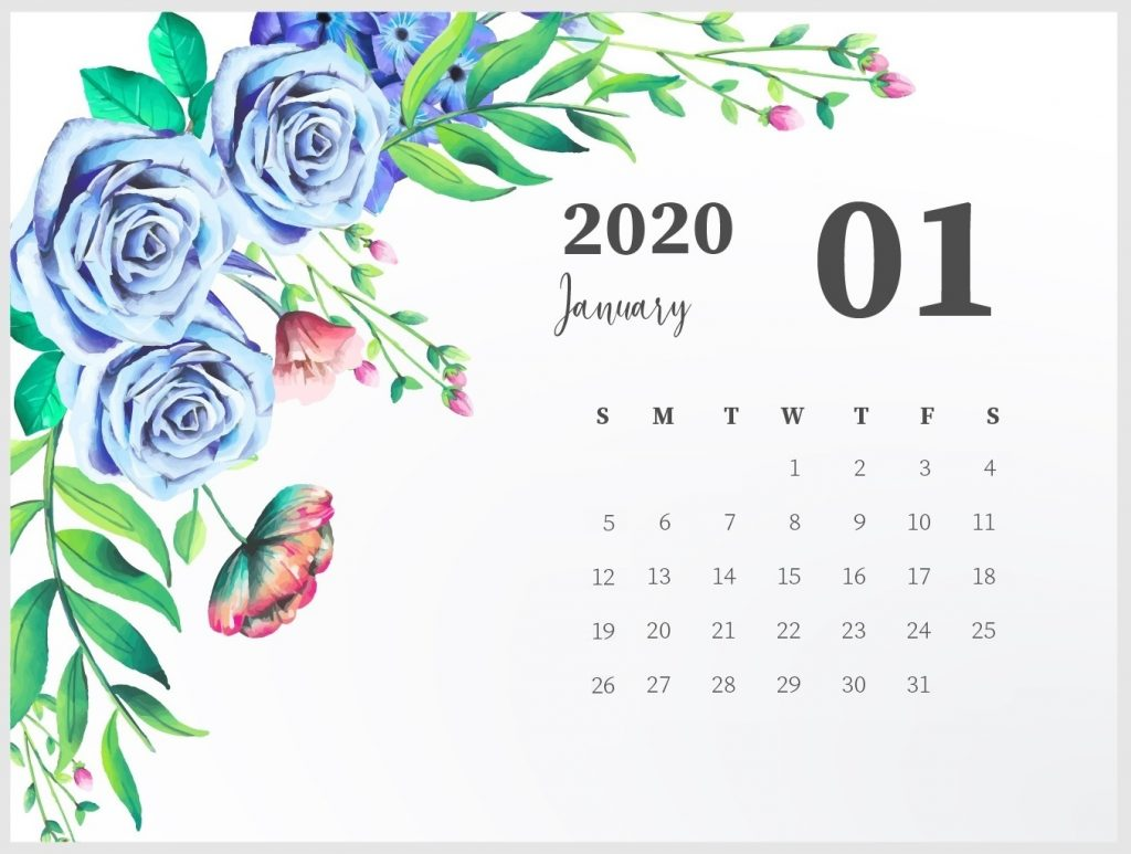 Beautiful January 2020 Calendar