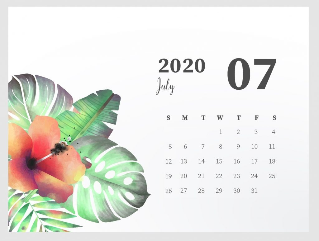 Beautiful July 2020 Calendar