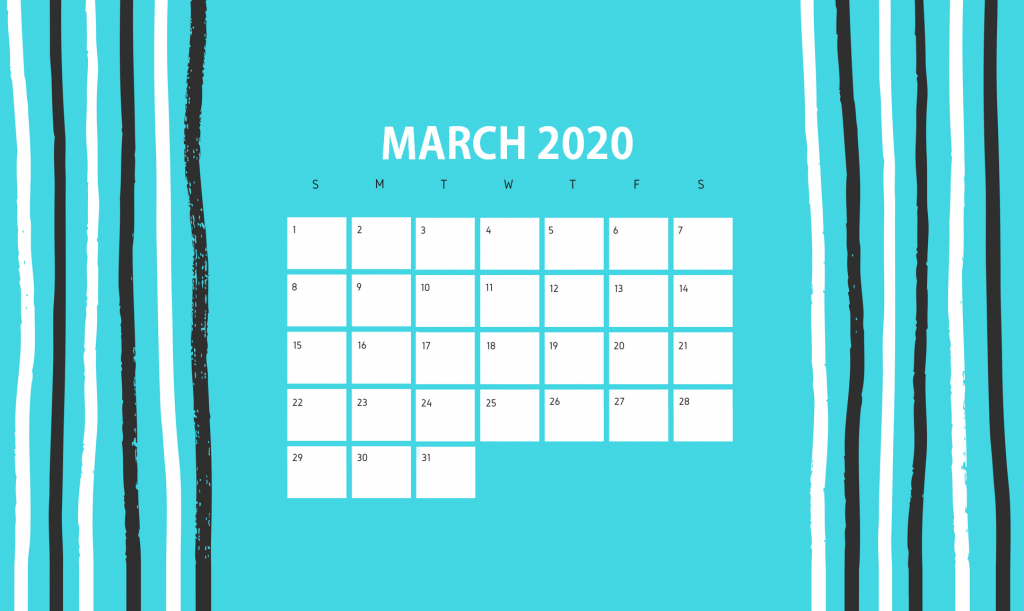 Beautiful March 2020 Calendar