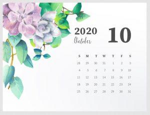 Beautiful October 2020 Calendar