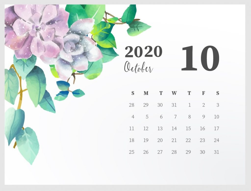 Beautiful October 2020 Calendar