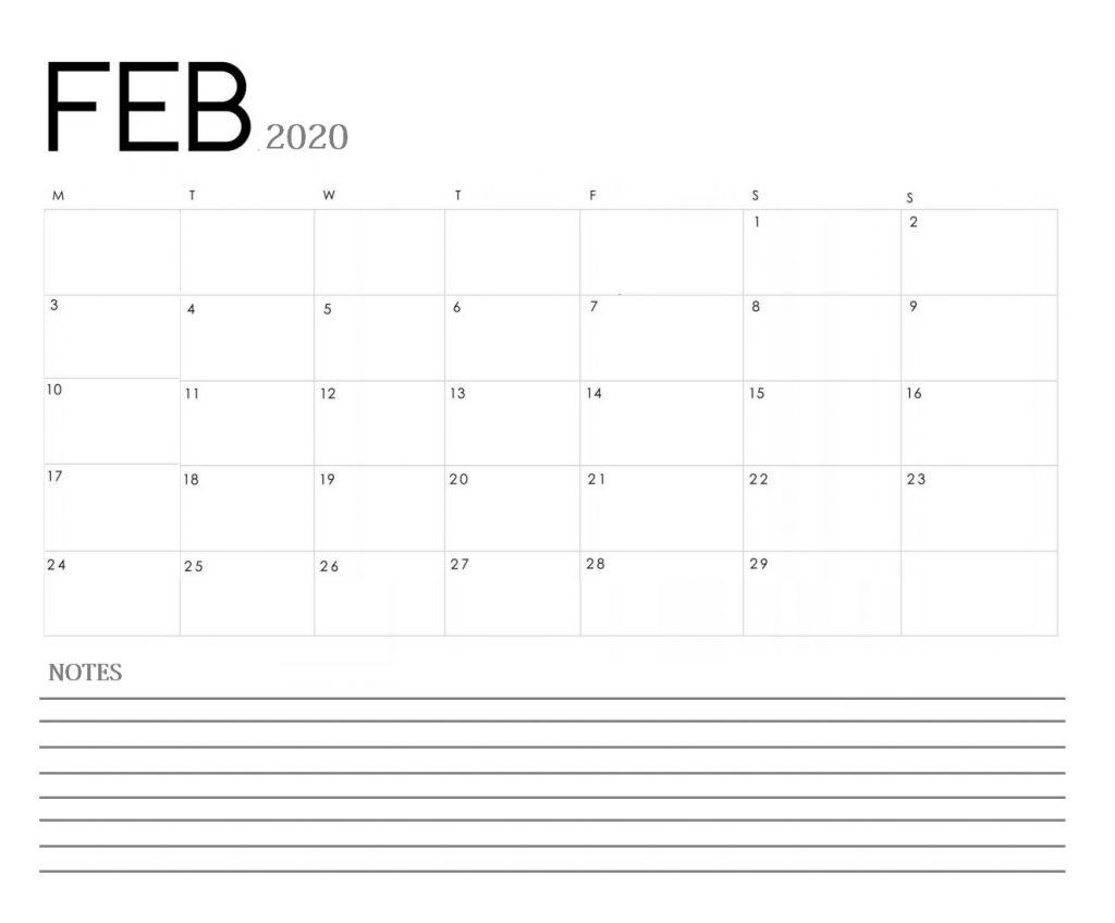 Blank February 2020 Calendar