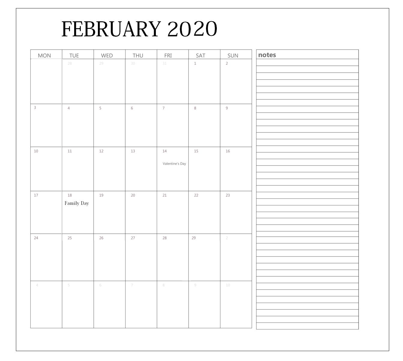 Blank February 2020 Editable Calendar