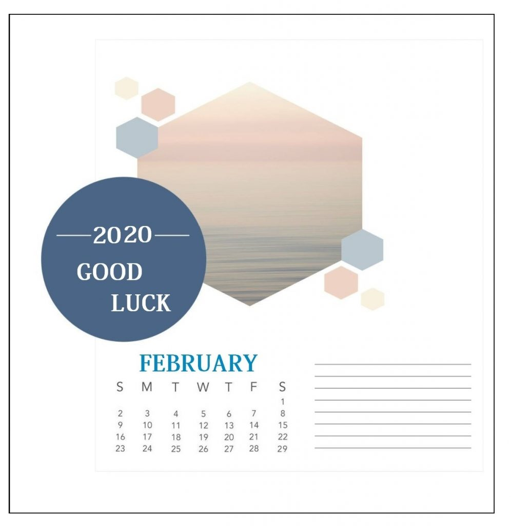 Blank February 2020 Office Desk Calendar