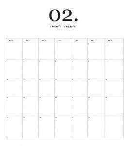 Blank February 2020 Office Wall Calendar