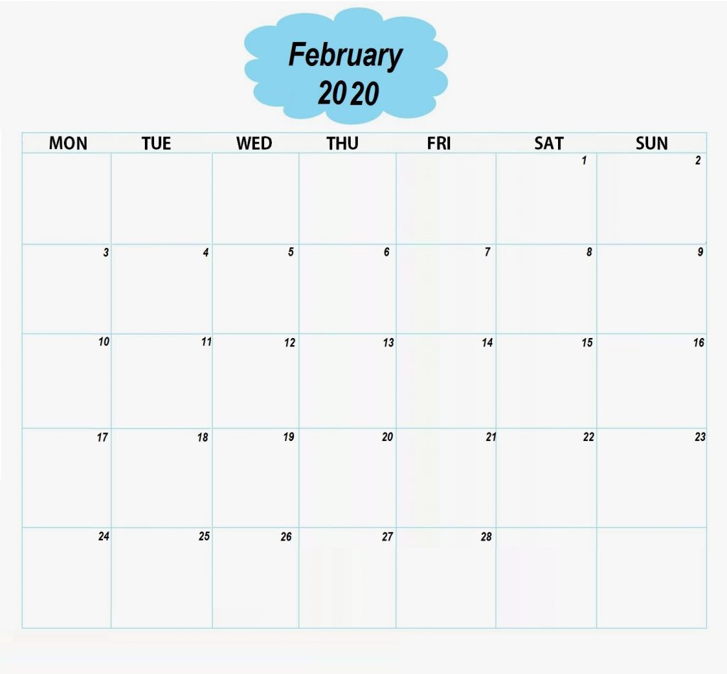 Blank February 2020 Weekly Planner