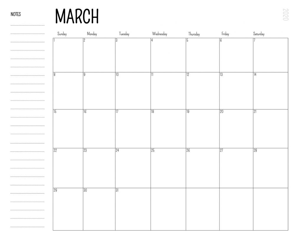 Blank March 2020 Editable Calendar