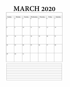 Blank March 2020 Monthly Planner