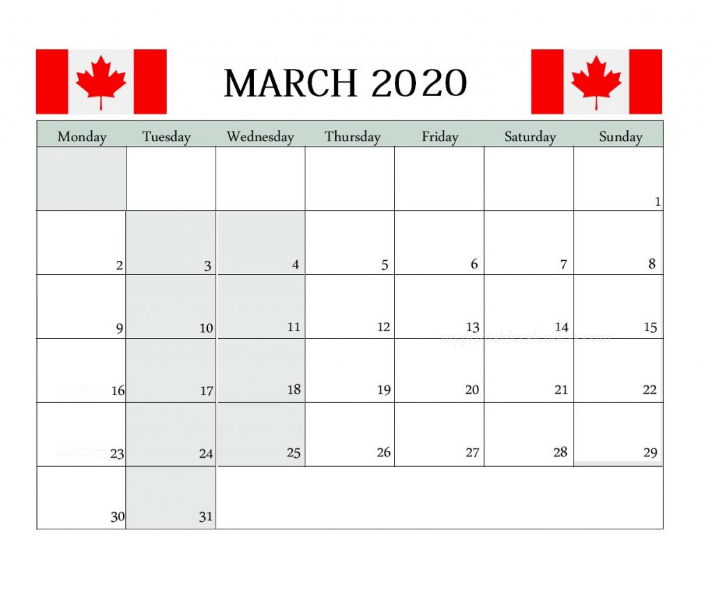Canada March 2020 Federal Holidays Calendar