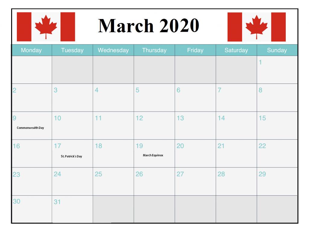 Canada March 2020 Holidays Calendar