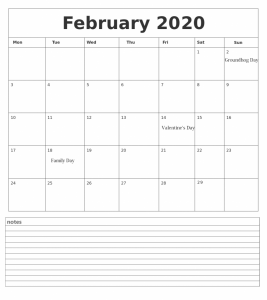 Customized February 2020 Calendar