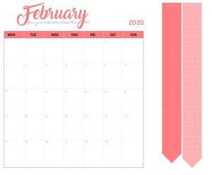 Cute February 2020 Desk Calendar