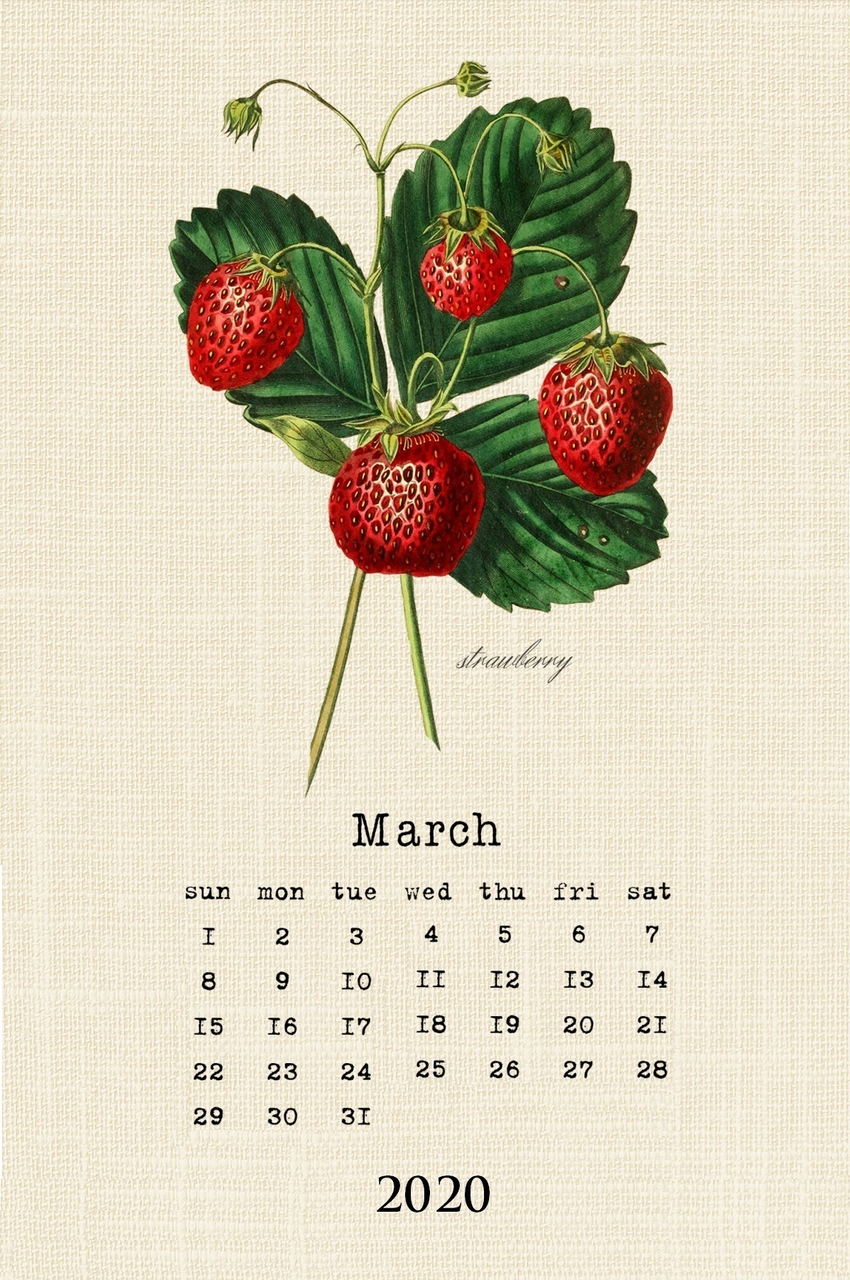 Cute March 2020 Calendar Template
