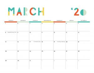 Edit March 2020 Monthly Planner