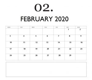 Editable February 2020 Monthly Planner