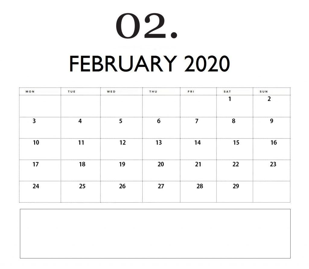 Editable February 2020 Monthly Planner