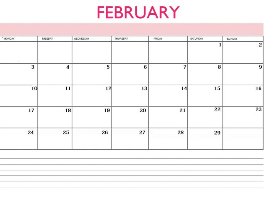February 2020 Blank Calendar With Notes