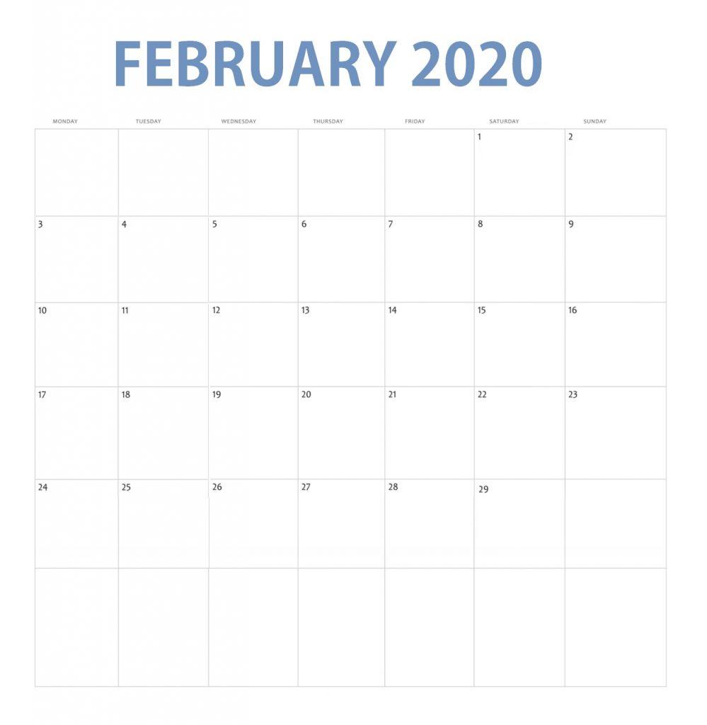 February 2020 Blank Template Calendar