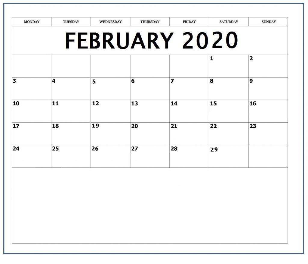February 2020 Blank Template