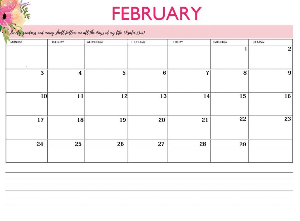 February 2020 Calendar Floral