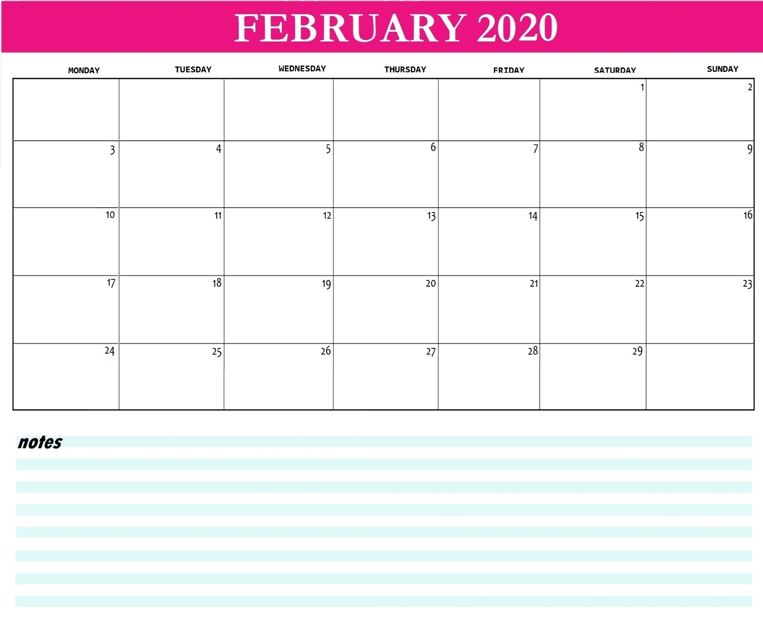 February 2020 Desk Calendar With Notes