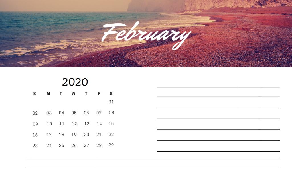 February 2020 Editable Calendar
