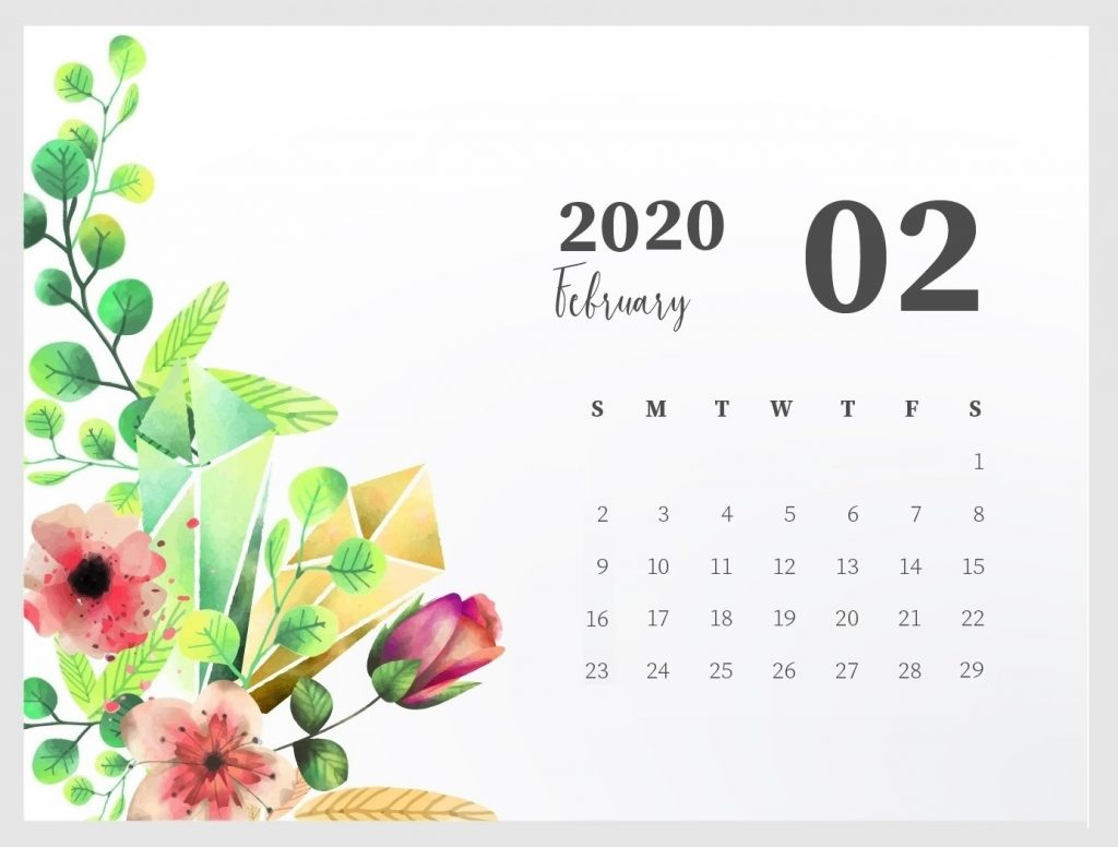 February 2020 Floral Background Calendar