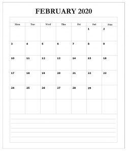 February 2020 Floral Wall Calendar