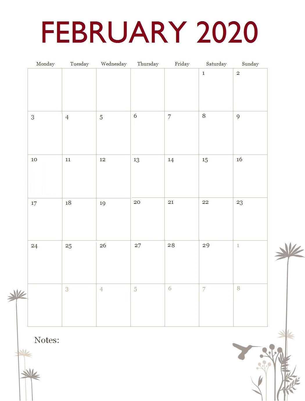 February 2020 Office Table Calendar