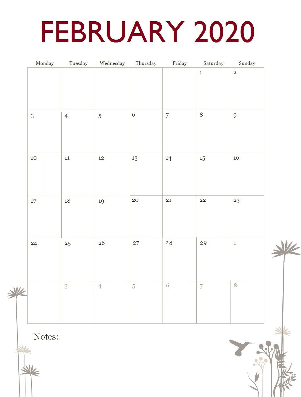 February 2020 Office Table Calendar