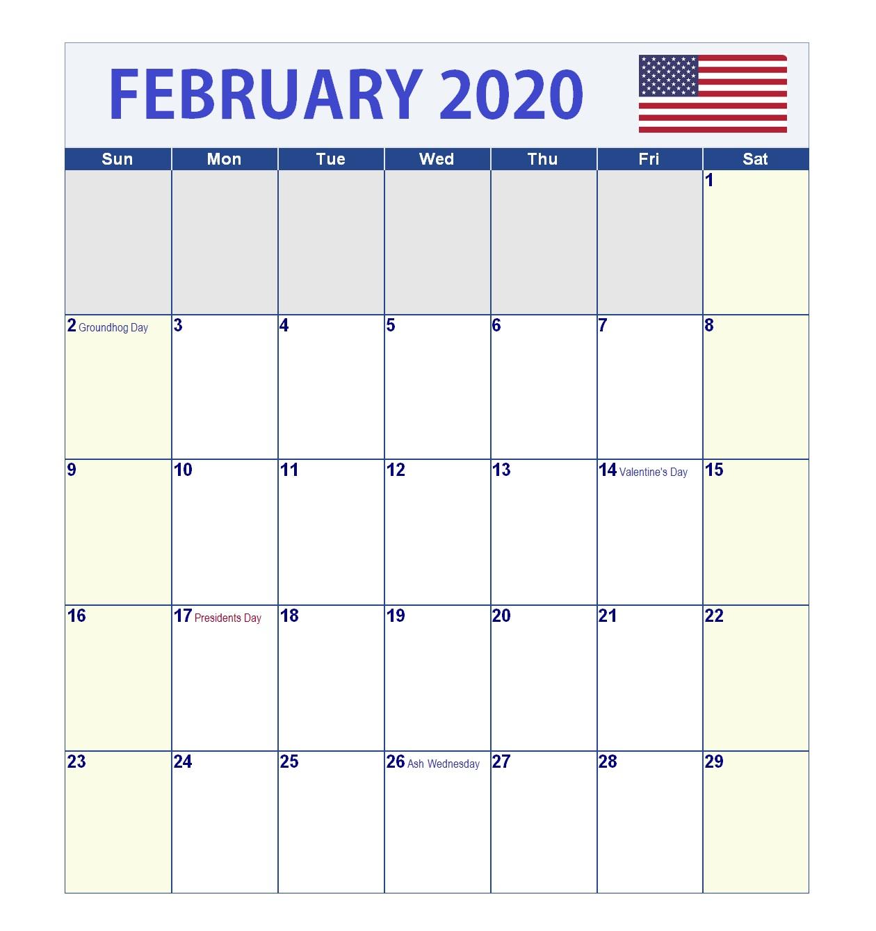 February 2020 USA Holidays Calendar