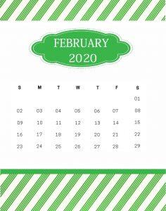 February 2020 Wall Calendar